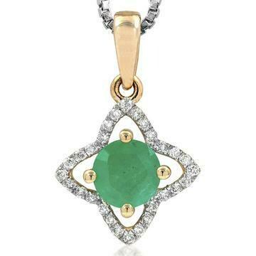 Cross Emerald Pendant with Diamond Frame Yellow Gold