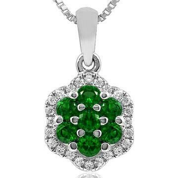 Floral Emerald Cluster Pendant with Diamond Frame White Gold