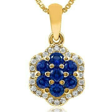 Floral Blue Sapphire Cluster Pendant with Diamond Frame Yellow Gold
