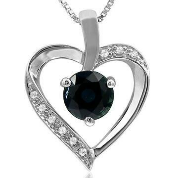 Blue Sapphire Heart Pendant with Diamond Accent 14KT Gold