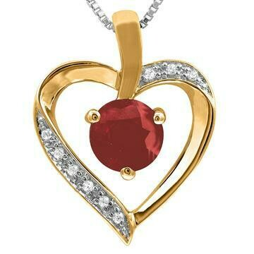 Ruby Heart Pendant with Diamond Accent Yellow Gold