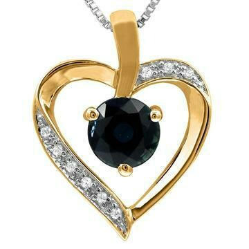 Blue Sapphire Heart Pendant with Diamond Accent Yellow Gold