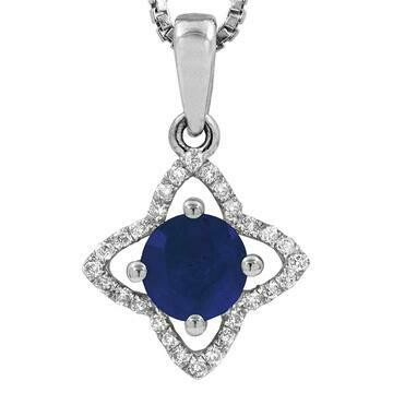 Cross Blue Sapphire Pendant with Diamond Frame White Gold