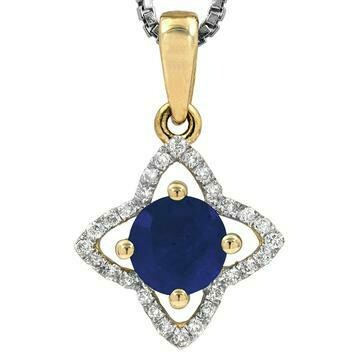 Cross Blue Sapphire Pendant with Diamond Frame Yellow Gold