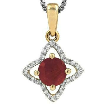 Cross Ruby Pendant with Diamond Frame Yellow Gold