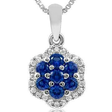Floral Blue Sapphire Cluster Pendant with Diamond Frame White Gold