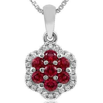 Floral Ruby Cluster Pendant with Diamond Frame White Gold