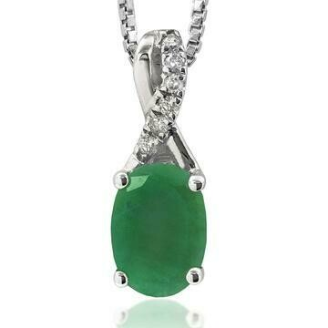 Oval Emerald Infinity Pendant with Diamond Accent White Gold