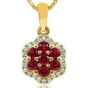 Floral Ruby Cluster Pendant with Diamond Frame Yellow Gold