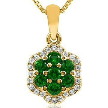 Floral Emerald Cluster Pendant with Diamond Frame Yellow Gold