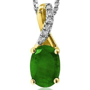 Oval Emerald Infinity Pendant with Diamond Accent Yellow Gold