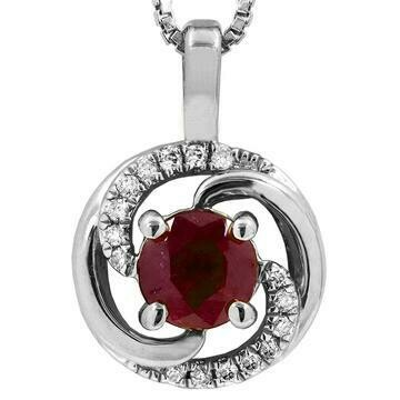 Ruby Spiral Pendant with Diamond Accent 14KT Gold