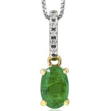 Oval Emerald Pendant with Diamond Bail Yellow Gold