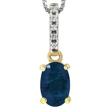 Oval Blue Sapphire Pendant with Diamond Bail Yellow Gold