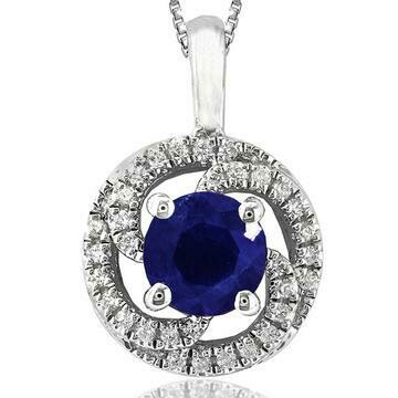 Blue Sapphire Spiral Pendant with Diamond Frame White Gold