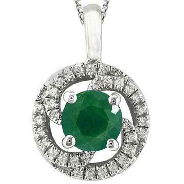 Emerald Spiral Pendant with Diamond Frame White Gold