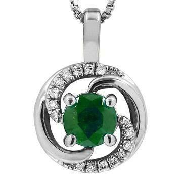 Emerald Spiral Pendant with Diamond Accent White Gold