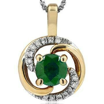 Emerald Spiral Pendant with Diamond Accent Yellow Gold