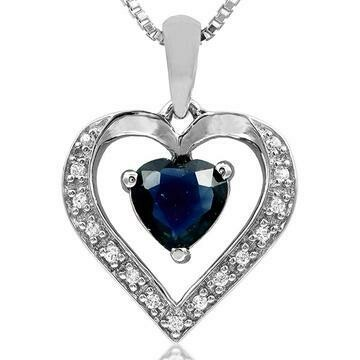 Blue Sapphire Heart Pendant with Diamond Accent White Gold