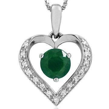Emerald Heart Pendant with Diamond Accent White Gold