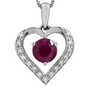 Ruby Heart Pendant with Diamond Accent White Gold