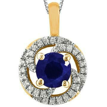 Blue Sapphire Spiral Pendant with Diamond Frame Yellow Gold