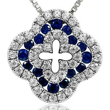 Clover Diamond Pendant with Sapphire Accent 14KT White Gold
