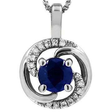 Blue Sapphire Spiral Pendant with Diamond Accent White Gold