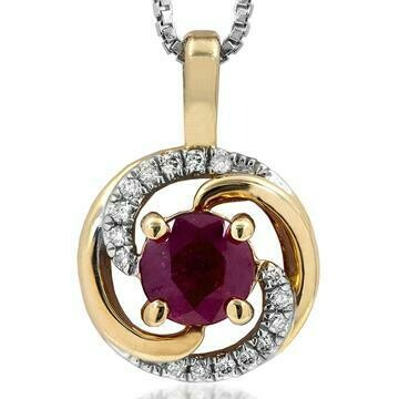 Ruby Spiral Pendant with Diamond Accent Yellow Gold