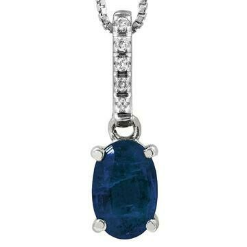 Oval Blue Sapphire Pendant with Diamond Bail White Gold