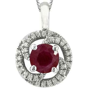 Ruby Spiral Pendant with Diamond Frame White Gold
