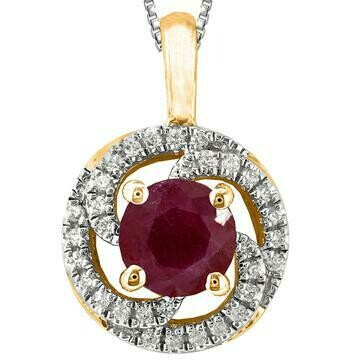 Ruby Spiral Pendant with Diamond Frame Yellow Gold