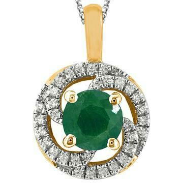 Emerald Spiral Pendant with Diamond Frame Yellow Gold