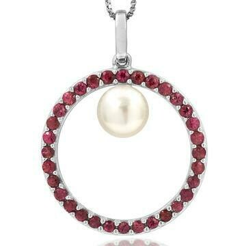 Pearl Circle Pendant Framed with Ruby 14KT White Gold