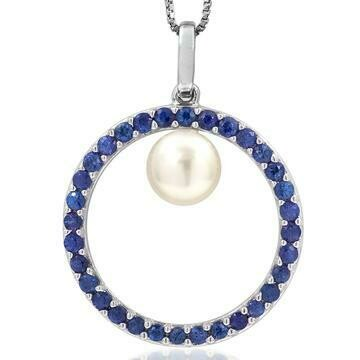 Pearl Circle Pendant Framed with Blue Sapphire White Gold
