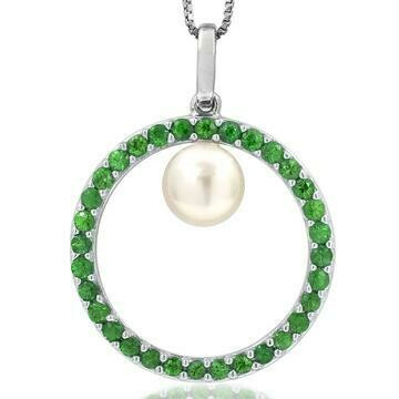 Pearl Circle Pendant Framed with Emerald White Gold