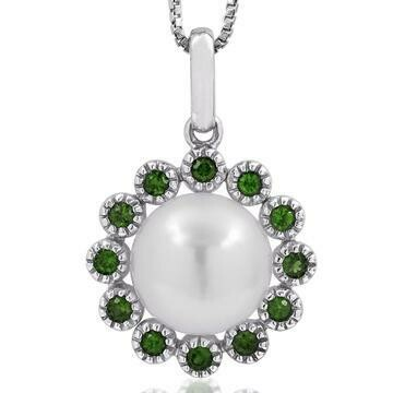 Floral Pearl Pendant Framed with Emerald White Gold