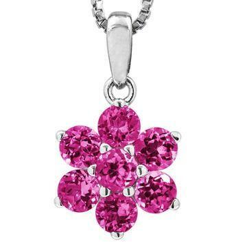 Floral Pink Topaz Pendant 14KT Gold