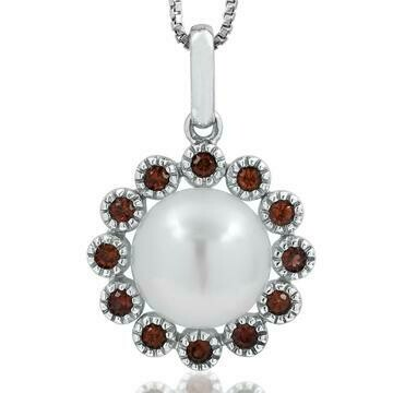 Floral Pearl Pendant Framed with Ruby 14KT White Gold