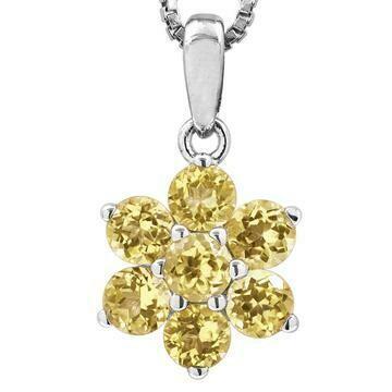 Floral Citrine Pendant 14KT Gold