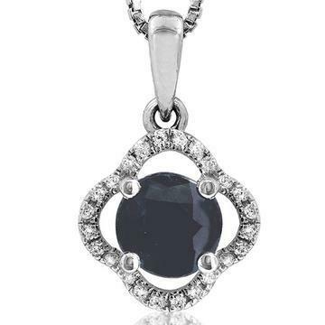 Clover Blue Sapphire Pendant with Diamond Frame 14KT Gold