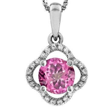 Clover Pink Topaz Pendant with Diamond Frame 14KT Gold