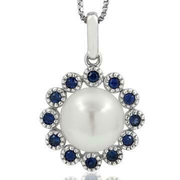 Floral Pearl Pendant Framed with Blue Sapphire 14KT White Gold