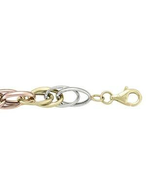 Tri Colour Hollow Fancy Bracelet 14KT