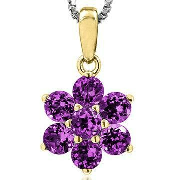 Floral Amethyst Pendant Yellow Gold