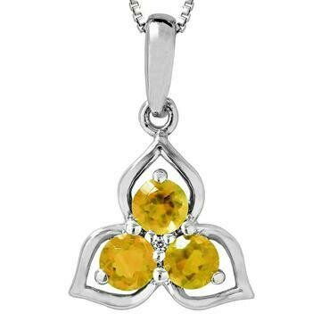 Three-Stone Citrine Pendant with Single Diamond 14KT Gold