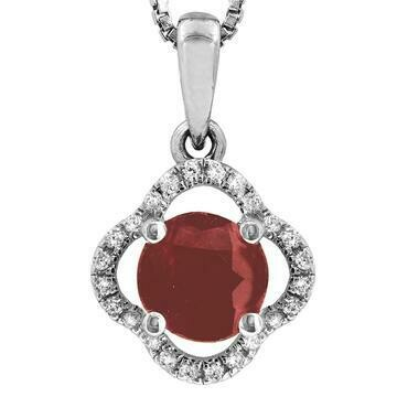 Clover Ruby Pendant with Diamond Frame White Gold