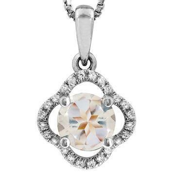 Clover Morganite Pendant with Diamond Frame 14KT Gold