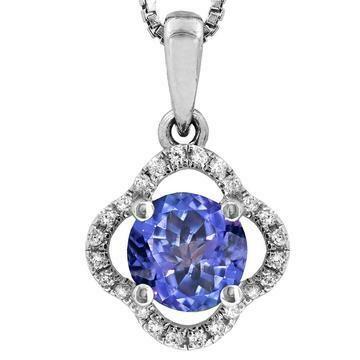 Clover Tanzanite Pendant with Diamond Frame White Gold
