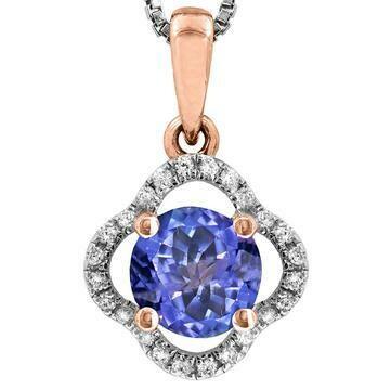 Clover Tanzanite Pendant with Diamond Frame Rose Gold